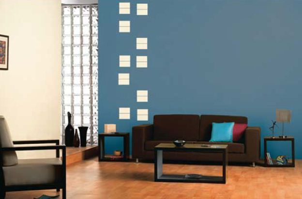 Living Room D Cor Feature Wall In Smoke Grey 6134 Window Stencil In Sesame Seed L127 Blue