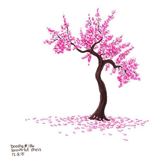 Pink Cherry Blossom Tree Art Print No 186 Beautiful Mess Etsy Blossom Tree Tattoo Cherry Blossom Tree Tattoo Cherry Blossom Drawing