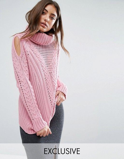 94a12ff951d88e Boohoo Cable Knit Roll Neck Jumper | Roll neck, Cable knitting and ...