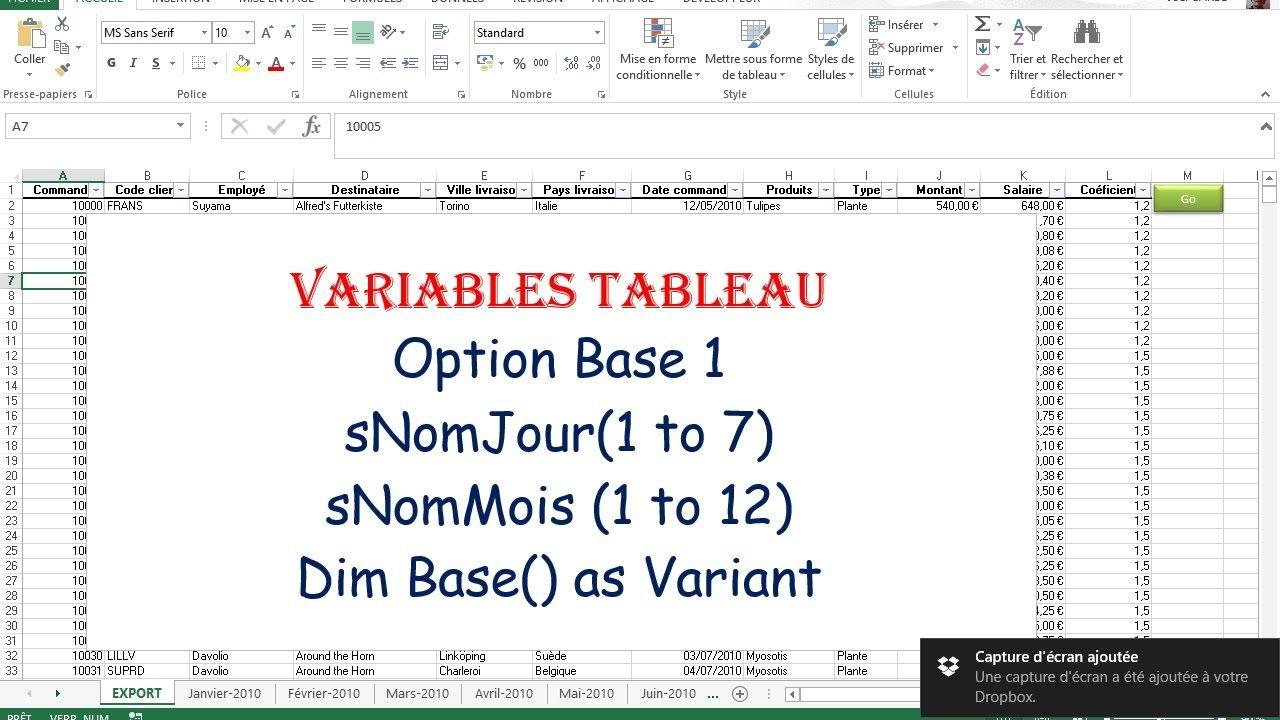Utilisation Des Variables Tableau En Vba Exercice Pratique Pour Variables Statiques Et Dynamiques A 1 Ou 2 Dimensions Exercice Taos Tableau