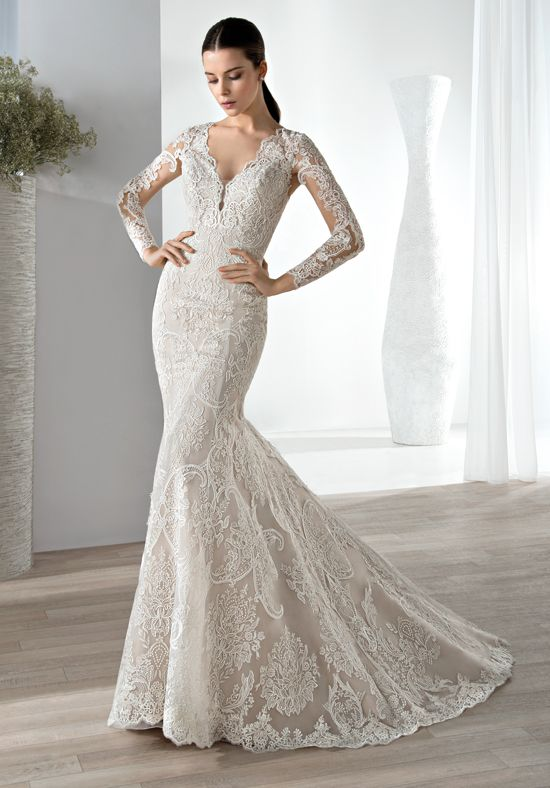 Fit n flare lace gown with V- neckline with long sleeves   Demetrios ...