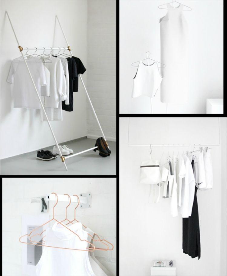 Fabulous kleiderstange kleiderschrank minimalistisch diy weiss schwarz kreativ bekleidung