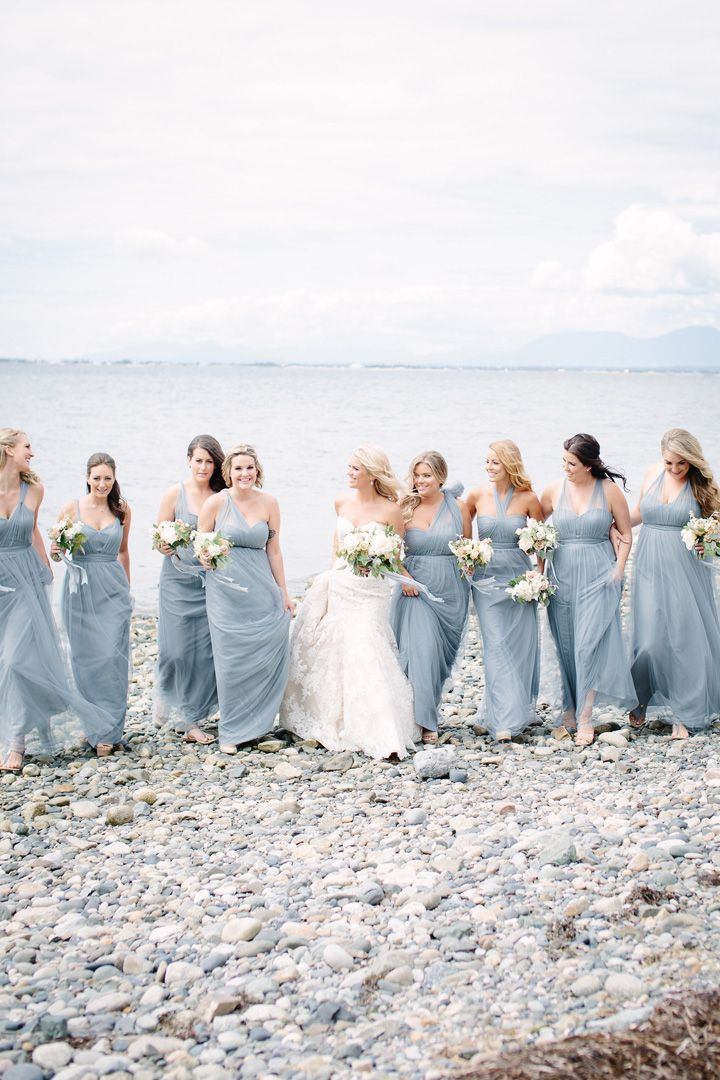 Dusty blue bridesmaid dresses + white and blush wedding bouquets | fabmood.com #beachwedding #dustyblue #dustybluebridesmaids