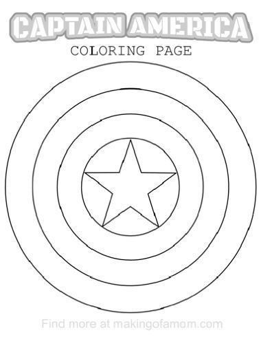 captain america shield coloring page # 2