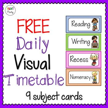 Daily Timetable Visual Schedule Cards FREE! by Print Party - daily timetable