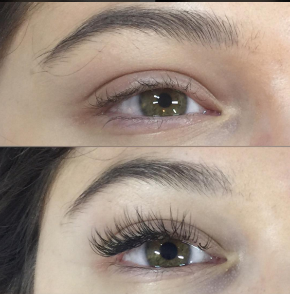 A client before and after eyelash extension application. This client had a successful consultation that concluded she would be a great candidate for lash extensions.