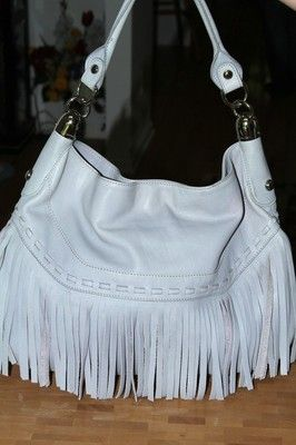 B. Makowsky Glove Leather Large Fringe Detail Shoulder Bag HEATHER GRAY 3372ee7e55