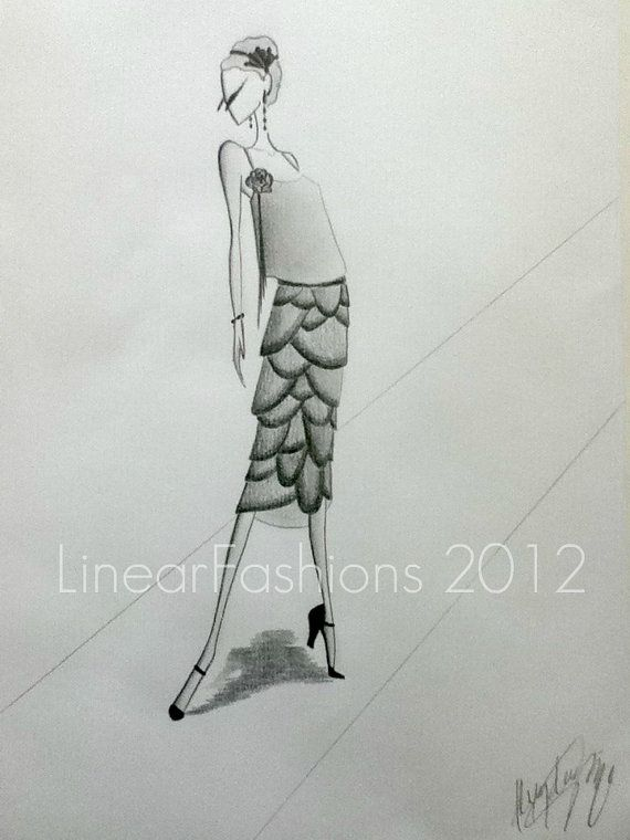 Fashion Illustration Art Deco 1920s Flapper by LinearFashions
