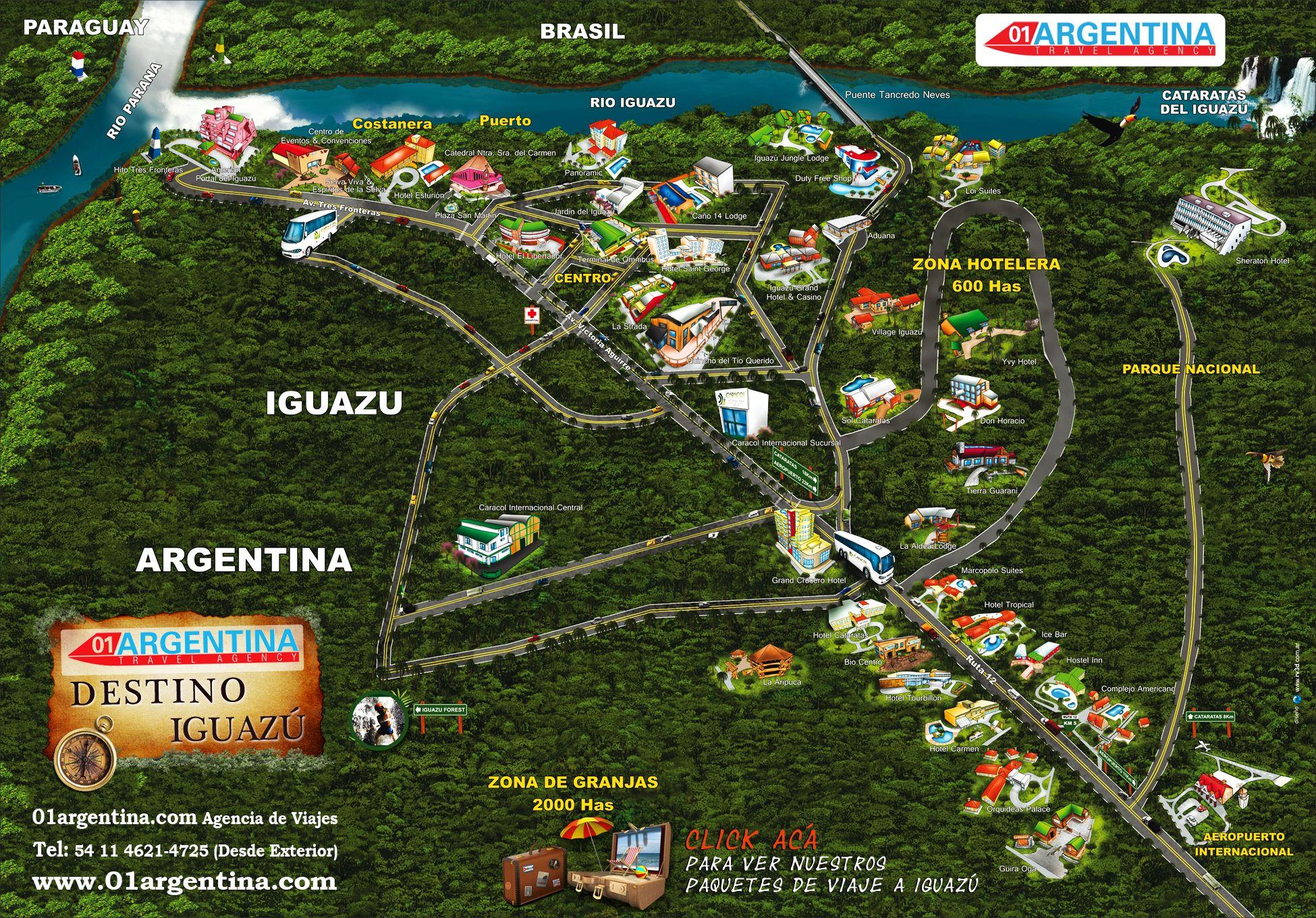 Cataratas De Iguazu Lado Argentino Mapa.Mapa De Los Mejores Hoteles En Puerto Iguazu Argentina