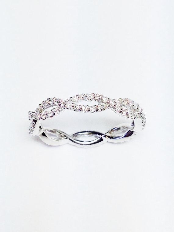 0 75ct Diamond Criss Cross Infinity Style Wedding Band Anniversary