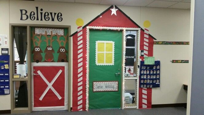 Two Classroom Doors Santa S Workshop And His Reindeer Barn