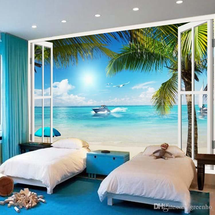 large wallpaper window 3d beach seascape view wall stickers art mural decal canvas silk. Black Bedroom Furniture Sets. Home Design Ideas
