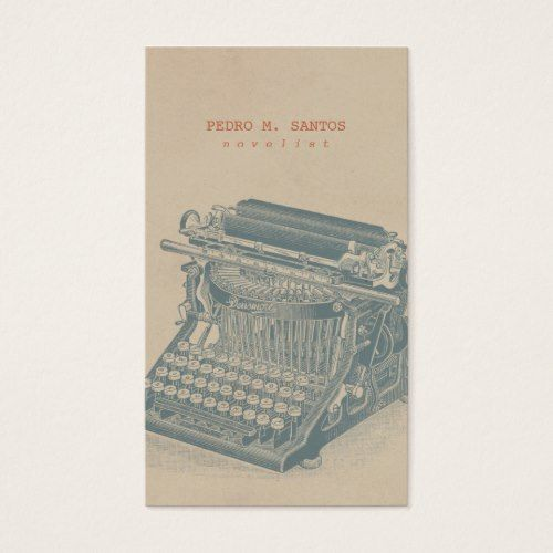 Vintage typewriter cool blue retro modern simple business card vintage typewriter cool blue retro modern simple business card colourmoves