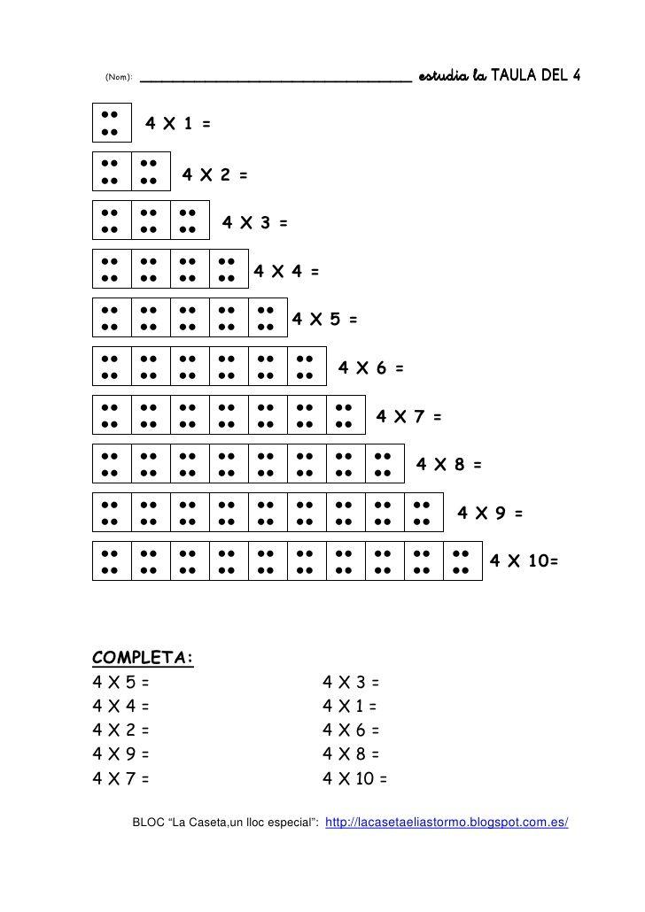 Practicar les taules de multiplicar amb puntets | MATEMÁTICAS ...