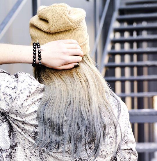 dip-dye hair silver-grey ends