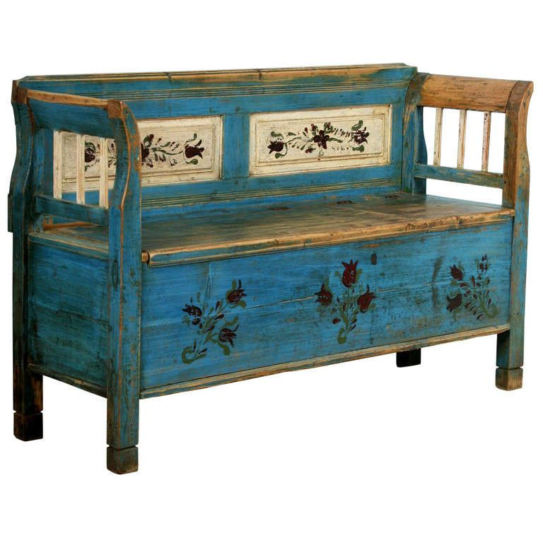 Amazing Antique Original Painted Small Romanian Bench With Storage