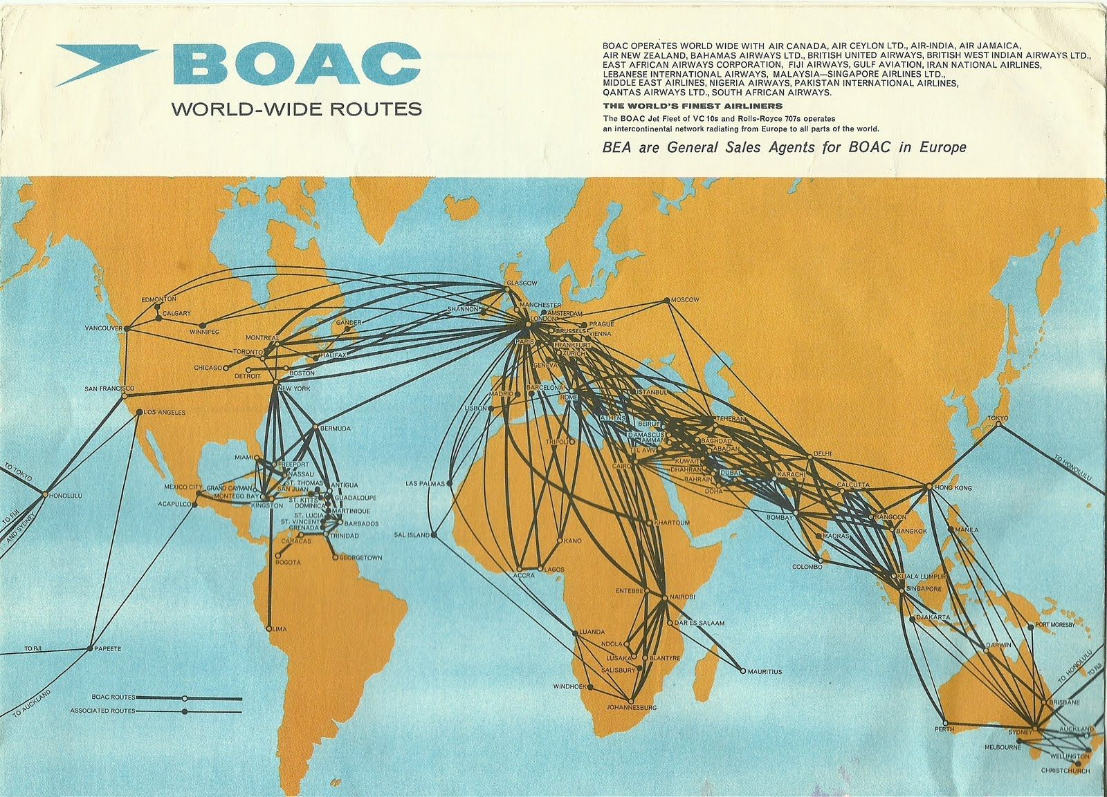 BOAC Routes British european airways, Retro travel