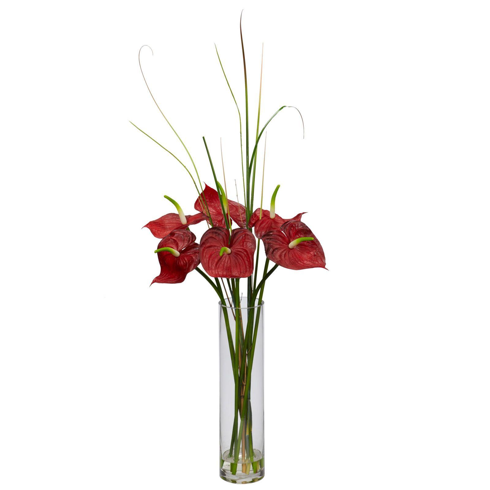 Artificial 30 Tropical Red Anthurium Flower Arrangement W Faux Water Glass Vase Anthurium Arrangement Anthurium Flower Arrangements