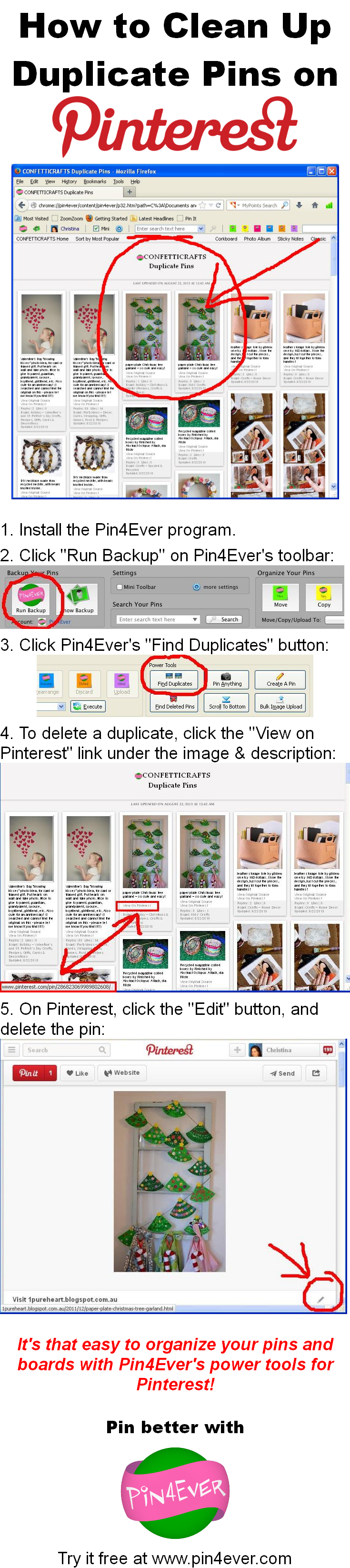 How To Clean Up Duplicate Pins On Pinterest, Using Pin4ever's