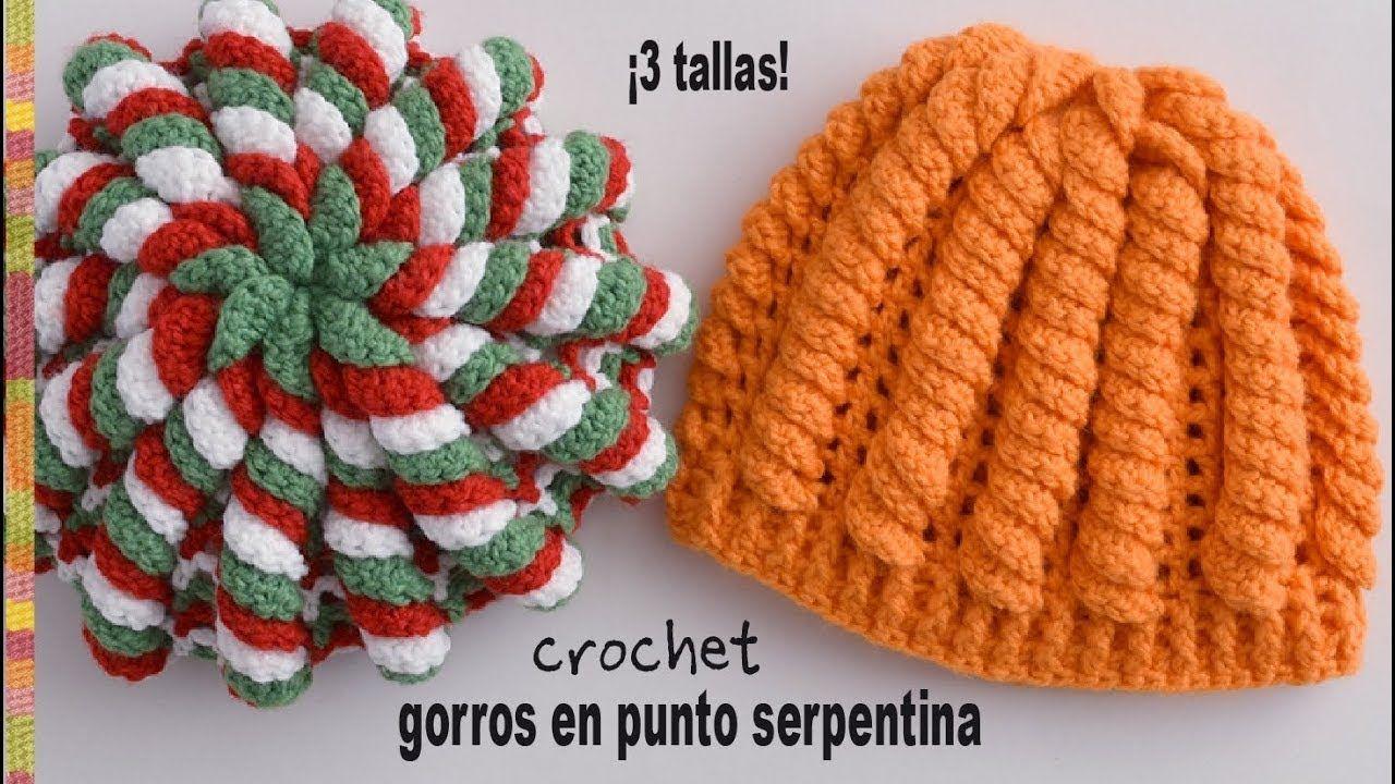Gorros en punto serpentina tejidos a crochet - Tejiendo Perú ... 994b2675073