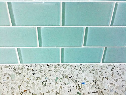 Turquoise Glass Subway Tile Backsplash With Recycled Glass Countertops In Kitchen Glass Countertops Recycled Glass Countertops Glass Subway Tile Backsplash