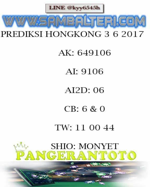 PANGERANTOTO: pangeran toto prediksi togel hongkong 3/6/2017