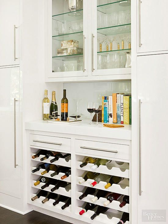 Customized cabinet inserts store wine bottles at an angle to ensure corks donu0027t dry & Wine Storage Ideas | Pinterest | Wine storage Storage ideas and Storage