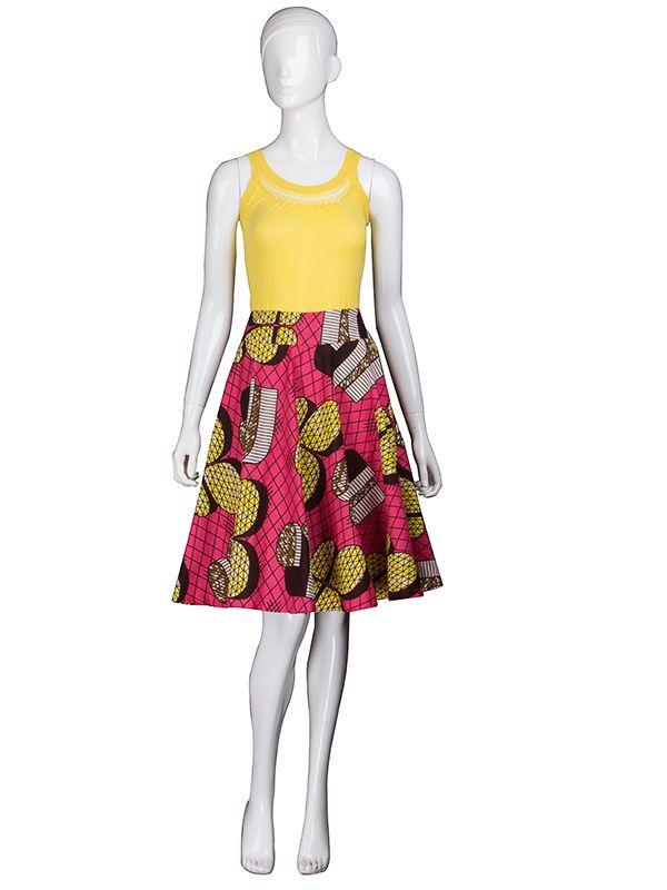 394b15587432f9 Jupe mi-long en tissu wax pour femme mode africaine personnalisé cs007