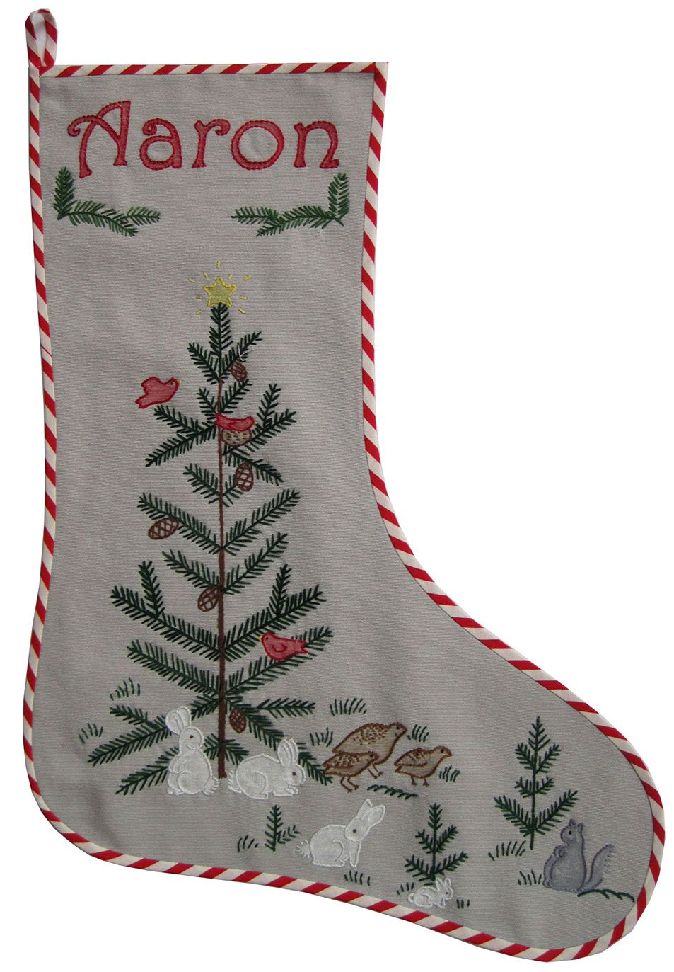 Embroidered Christmas Stocking  Woodland Animals (Q is for Quilter)