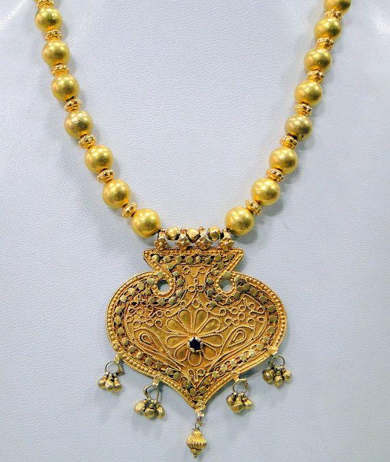 Vintage antique 22 k gold pendant beads necklace by tribalexport vintage antique 22 k gold pendant beads necklace by tribalexport 299900 aloadofball Gallery