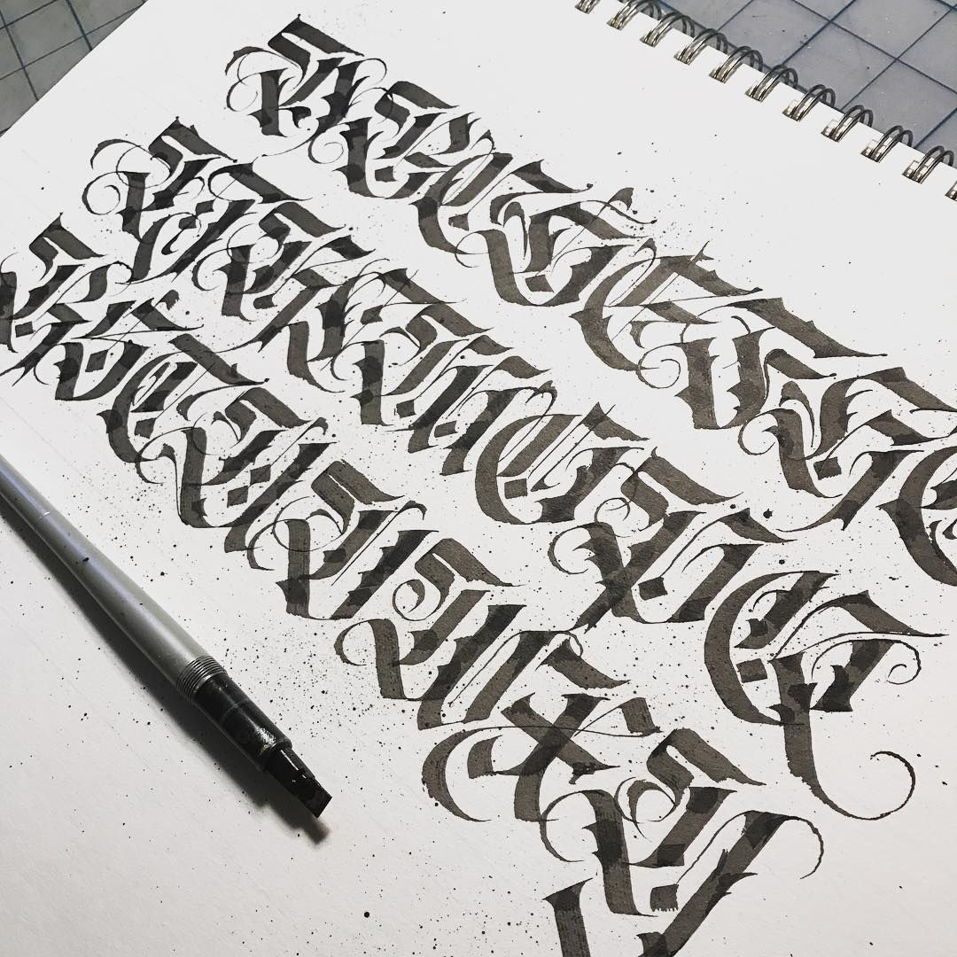 Finished abstract fraktur alphabet. Minus z because... well that ...