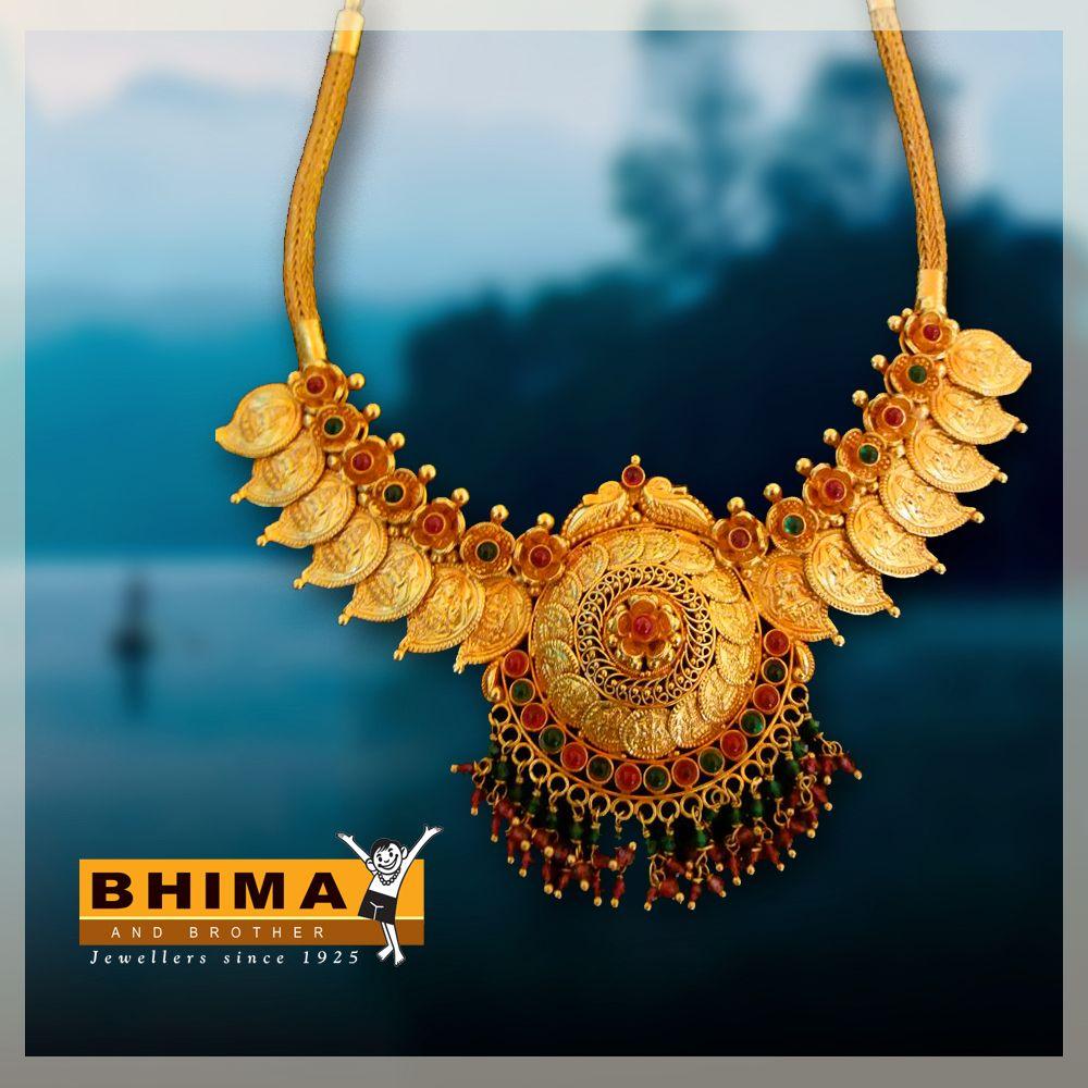 Bhima Gold Jewelry Traditional Necklace Gemstone Wedding Jewellery Collection Gold Pendant Jewelry Classic Jewelry