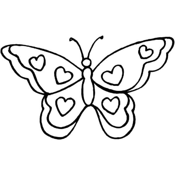 drawings of butterflies butterfly with hearts to color child