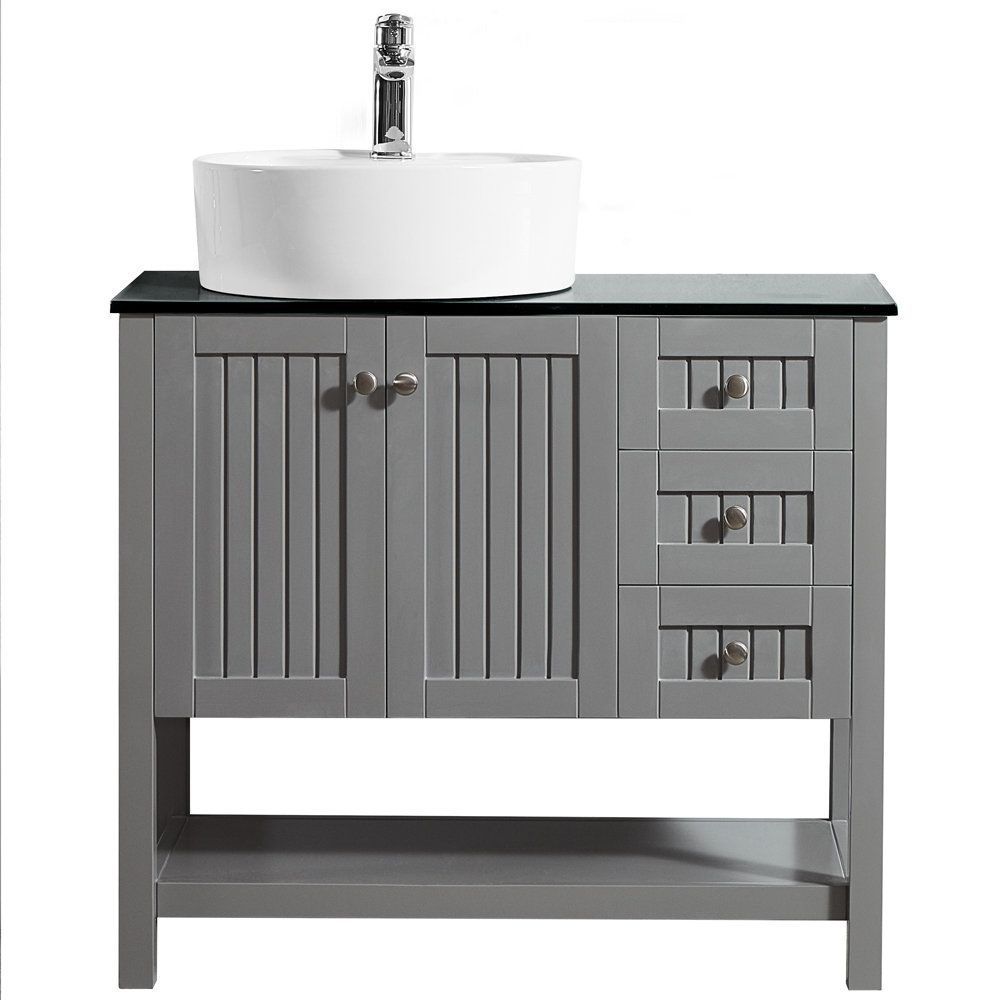 Modena 36 Inch Vanity In Grey With Glass Countertop Glass Vanity