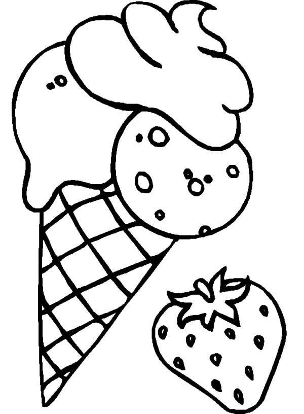 Ice Cream Cone Flavoured Strawberry Coloring Pages : Bulk Color Ice Cream Coloring  Pages, Coloring Pages, Bee Coloring Pages