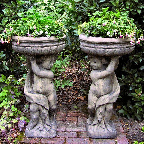 Charming Garden Pots Pair Of Stone Cherubs Large Garden Planters .