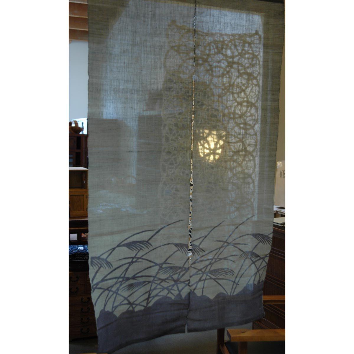 Japanese Noren Susuki Silver Grass On Purple Gray Curtains