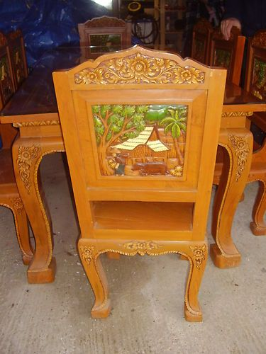 Unusual Large Thai Carved Dining Table And 8 Chairs | EBay
