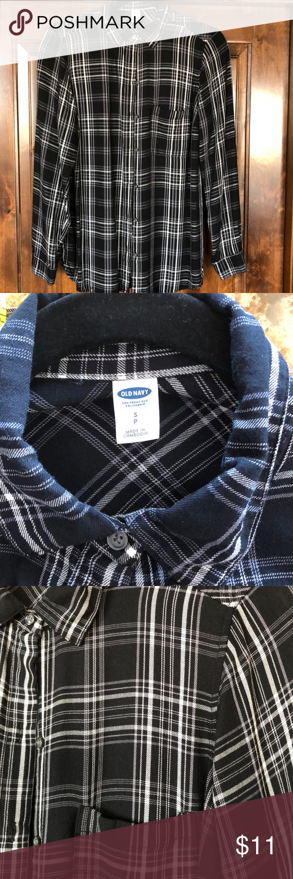Flannel shirt black and grey  Old Navy Soft Flannel Plaid Shirt size S  White long sleeve