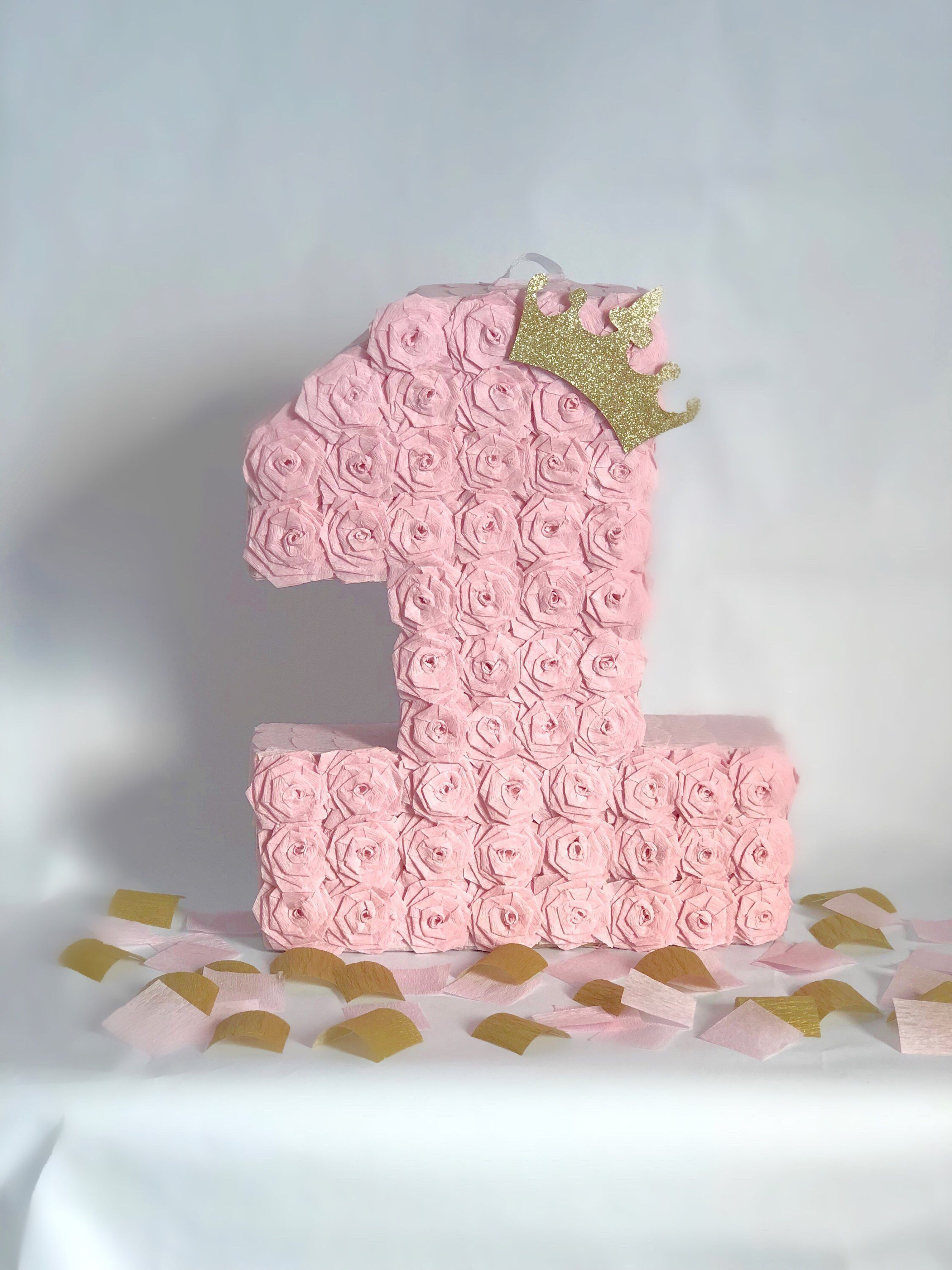 Princess Pink And Gold Number 1 Small Pinata Party Table Decor Cake