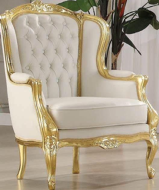 Neo Classic Elegance Gold Accent Chair