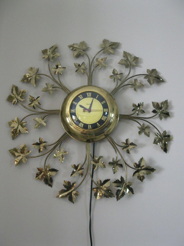 Stunning Mid Century United Starburst Clock Electric Etsy Sunburst Clock Vintage Wall Clock Clock