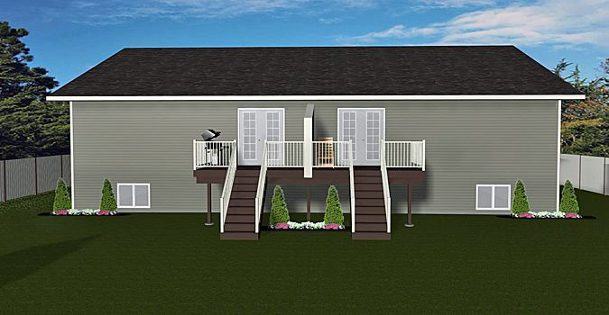 Duplex Plan 2012638 A BiLevel style side by side duplex attached – Duplex Plans With Garage And Basement