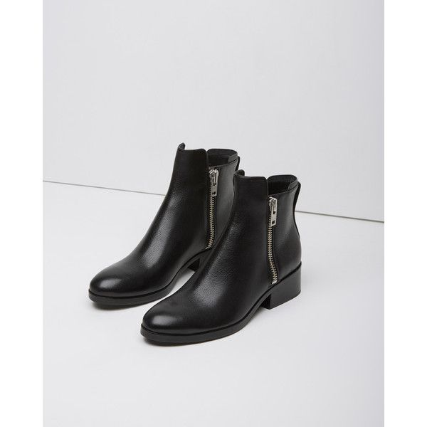 3.1 Phillip Lim Alexa Boot ($525) ❤ liked on Polyvore featuring shoes, boots, ankle booties, black, ankle boots, side zipper boots, mid heel booties, lined boots and lined ankle boots