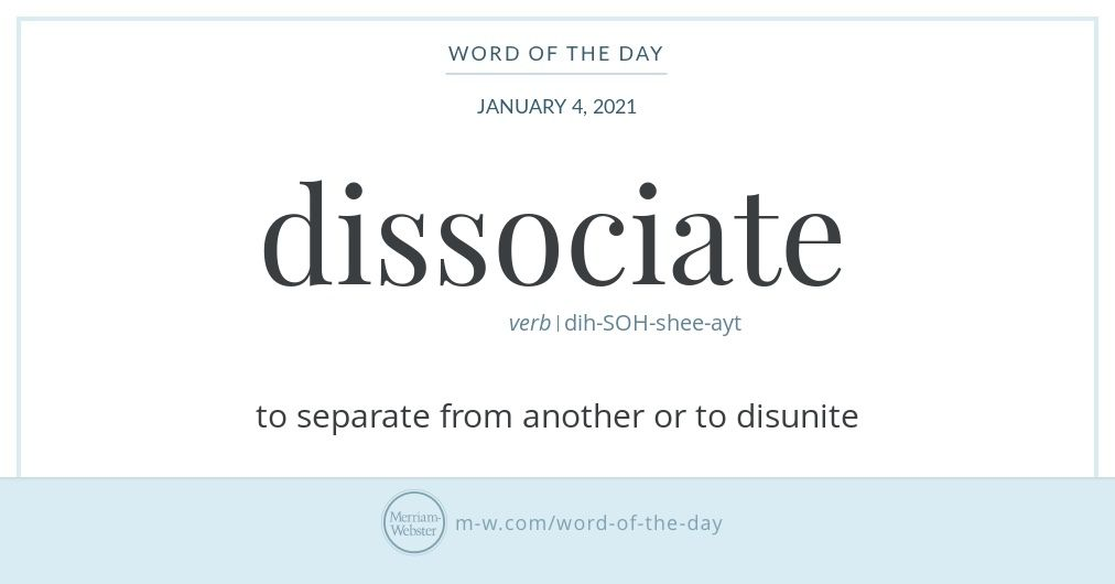 Word Of The Day Dissociate In 2021 Word Of The Day Words Commonly Misspelled Words