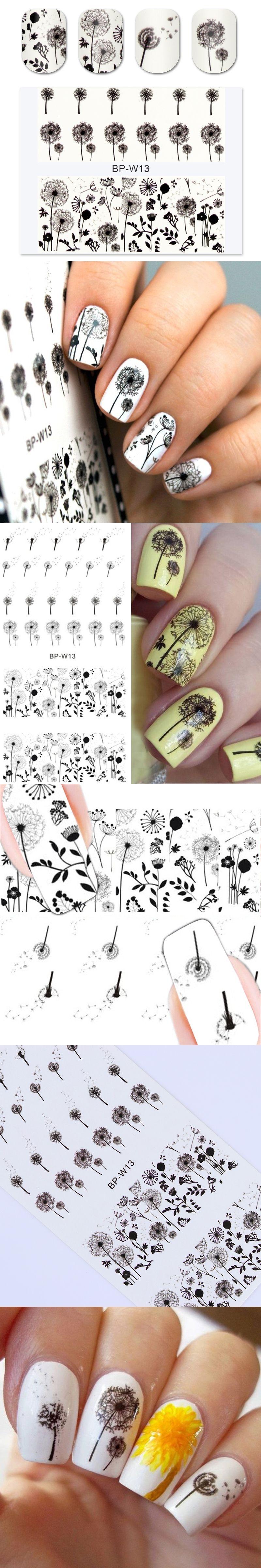 BORN PRETTY Flying Dandelion Nail Art Water Decals 2 Patterns ...