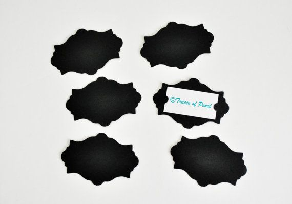 30 Elegant Die Cut Cardstock 2x3 inches  Black  by TracesofPearl, $3.75