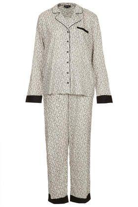 Mono Floral Print PJ Set - Nightwear  #loungewear #pjs #sleepwear