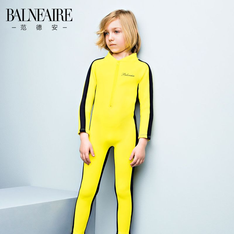 8ce30b621982f Van Dean Long Sleeve Sun Spa Boys Swimsuits Big Boy Cute Children's Boxer  Siamese Swimwear