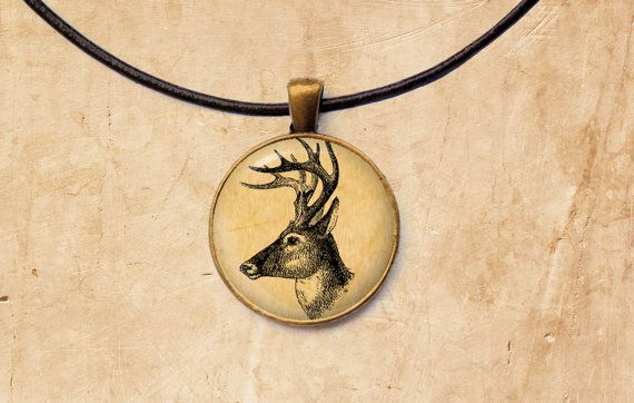 Stag necklace Deer pendant Animal jewelry by SleepyCatPendants